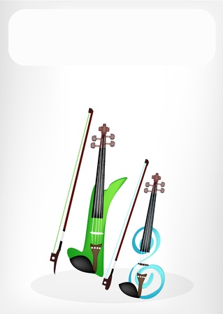 violins: Music Instrument, Illustration of Two Modern Green and Blue Violins with White Label for Copy Space and Text Decorated
