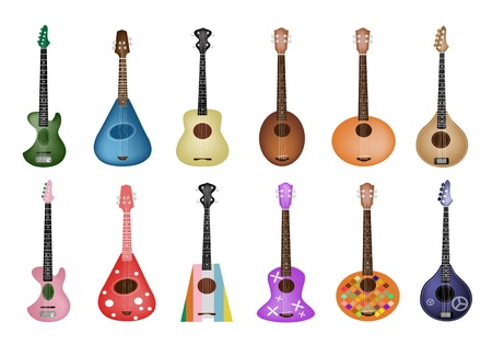 Music Instrument, An Illustration Collection of Ukulele Guitars in Various Colors and Different Style