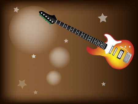 rosewood: Music Instrument, An Illustration of Red Electric Guitar on Beautiful Vintage Dark Brown Background with Copy Space for Text Decorated