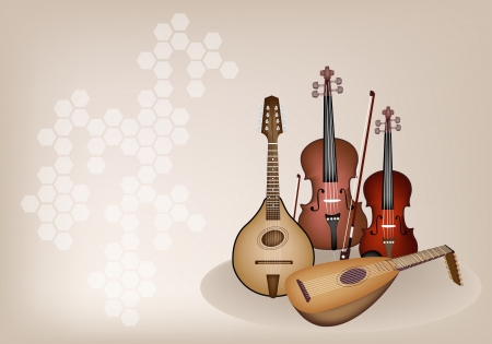 Music Instrument, An Illustration of A Beautiful Antique Musical Instrument Strings, Bluegrass Mandolin, Lute, Violin and Double Bass on Beautiful Vintage Brown Stage Background with Copy Space for Text Decorated   Vector