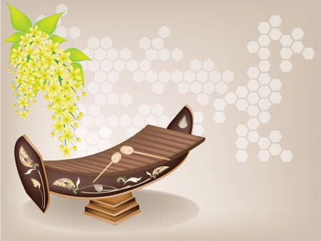 fistula: Music Instrument, An Illustration of A Vintage Thai Alto Xylophone and Yellow Color of Cassia Fistula or Golden Shower Flower on Brown Background. A traditional Thailand Musical Instrument Known as Ranad