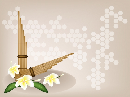 woodwind: Music Instrument, An Illustration Brown Color of Wooden Pan Flute and White Tropical Plumeria Frangipani Flowers on Brown Background with Copy Space for Text Decorated  Illustration
