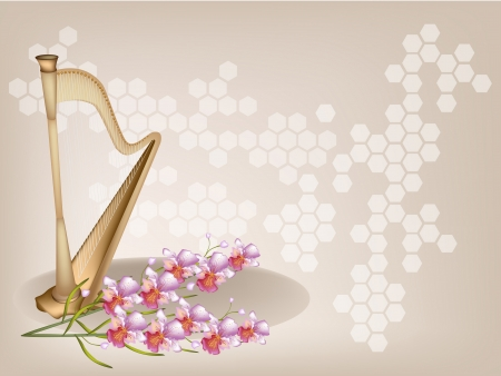 Music Instrument, An Illustration of A Single Harp or Konghou and Pink Vanda Orchids on Beautiful Vintage Brown Background with Copy Space for Text Decorated   Vector
