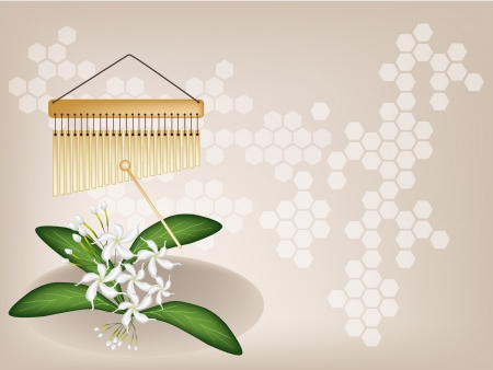 Music Instrument, An Illustration of Golden Bar Chimes and White Common Gardenias or Cape Jasmine Flowers on Vintage Brown Background with Copy Space for Text Decorated  Vector