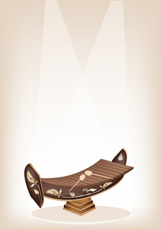 alto: An Illustration of A Vintage Thai Alto Xylophone or Ranad on Brown Stage Background with Copy Space for Text Decorated