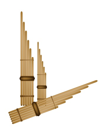 lao: An Illustration of Traditional Lao and Thailand Musical Instrument, Brown Color of Wooden Pan Flute Isolated on White Background
