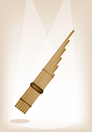 pan flute: Musical Instrument, An Illustration of Wooden Pan Flute on Brown Stage Background with Copy Space for Text Decorated  Illustration