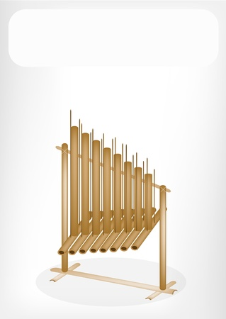indonesia culture: Music Instrument, An Illustration of Musical Angklung with White Label for Copy Space and Text Decorated  Illustration