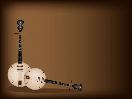 Music Instrument, An Illustration Brown Color of Banjo or Dan Nguyet on Beautiful Dark Brown Background with Copy Space for Text Decorated   Vector