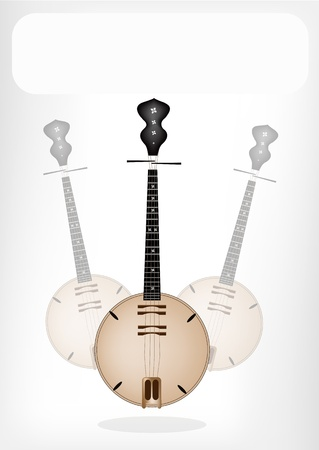 Music Instrument, An Illustration Brown Color of Banjo or Dan Nguyet with White Label for Copy Space and Text Decorated  Vector