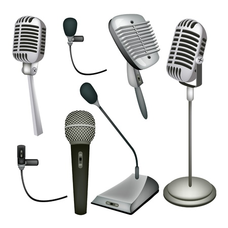 An Illustration Collection Various Kind of Microphone in Modern and Retro Style Vector