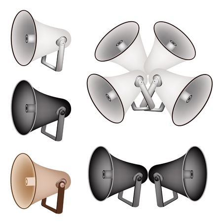 public address: An Illustration Collection of Various Kind Megaphones or Loudspeakers in Brown, Black and Grey Colors