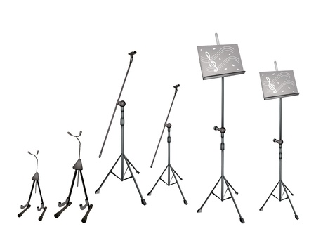 scores: An Illustration Collection of Music stand with Sheet Music Illustration
