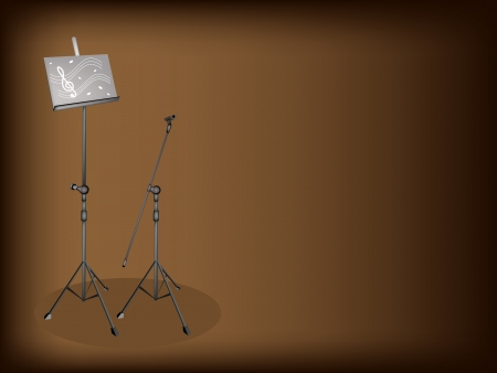 music stand: An Illustration of Music stand and Microphone Stand with Sheet Music on Beautiful Brown Background