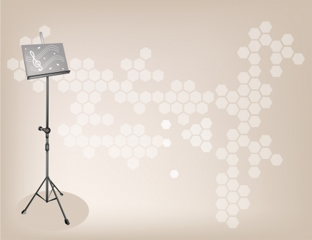 scores: Illustration of Music stand with Sheet Music on Beautiful Dark Brown Background