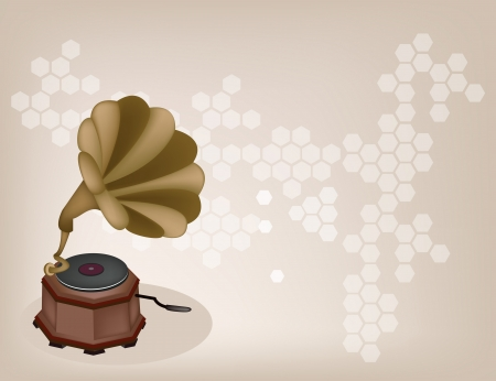Golden Gramophone or Turntable on Beautiful Brown Background Vector