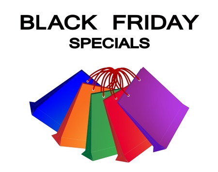 Black Friday Special Label with Paper Shopping Bags, Sign for Start Christmas Shopping Season  Vector
