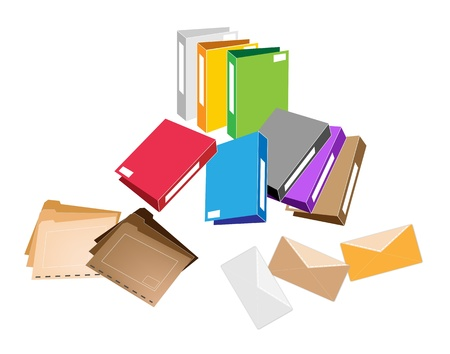 tabbed folder: Illustration Collection of Colorsful File Folder, Office Foloder and Close Envelope for Office Supply Illustration