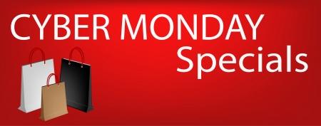Cyber ??Monday spécial sur la bannière rouge avec du papier Sacs, signe de départ Christmas Shopping Season