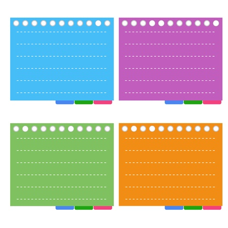 A Sheet of Blank Lined on Orange, Purple, Blue and Green Spiral Paper with Tabbed Binder, Copy Space for Text Decorated  Vector