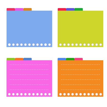 A Sheet of Blank Lined on Orange, Pink, Blue and Yellow Spiral Paper with Tabbed Binder, Copy Space for Text Decorated  Stock Vector - 21267951