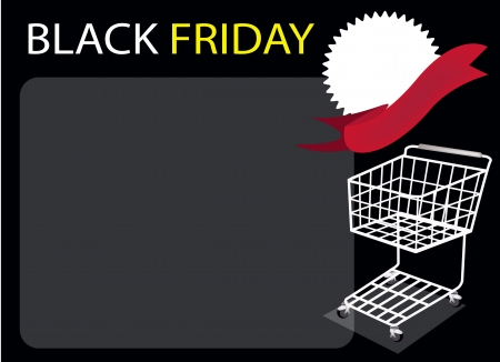 A Shopping Cart and Blank Round Label on Black Friday Background with Copy Space and Text Decorated, Sign for Start Christmas Shopping Season