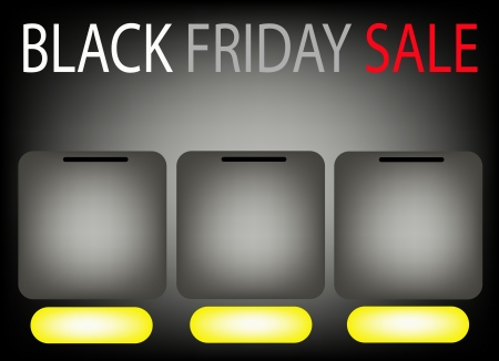 Three Blank Banner on Black Friday Sale Background for Copy Space and Text Decorated, Sign for Start Christmas Shopping Season