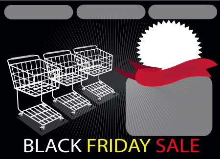 Three Shopping Carts and A Round Label on Black Friday Background with Copy Space and Text Decorated, Sign for Start Christmas Shopping Season  Vector