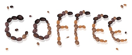 american cuisine: Coffee Time, An Illustration Various Colors of Roasted Coffee Beans Forming in  Coffee  Wording