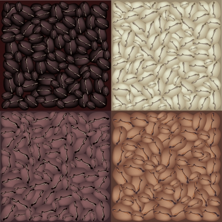 processed grains: Coffee Time, An Illustration Four Colors of Beautiful Roasted Coffee Beans, Dark Brown, Brown, Light Brown and Green