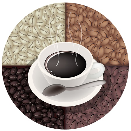 Coffee Time, A Cup of Coffee on Beautiful Roasted Coffee Beans Background Vector