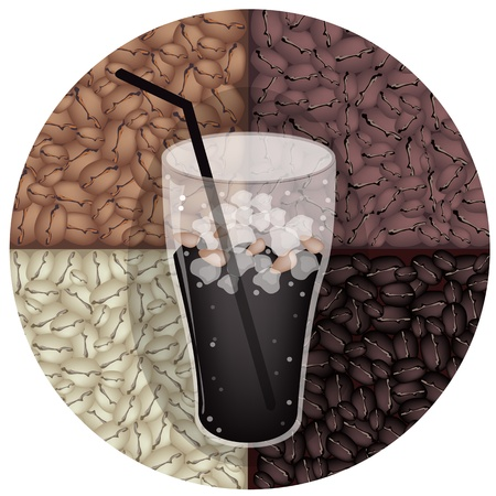 american cuisine: Coffee Time, A Glass of Black Iced Coffee on Beautiful Roasted Coffee Beans Background Illustration