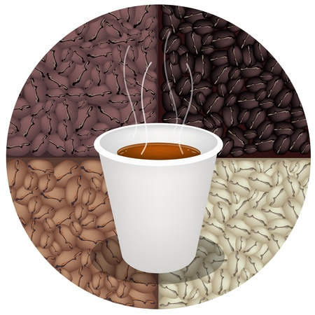coffee beans background: Coffee Time, A Cup of Takeaway Coffee in A Disposable Cup with Beautiful Roasted Coffee Beans Background