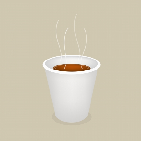piccolo: Coffee Time, A Cup of Takeaway Coffee in A Disposable Cup on Retro Brown Background  Illustration