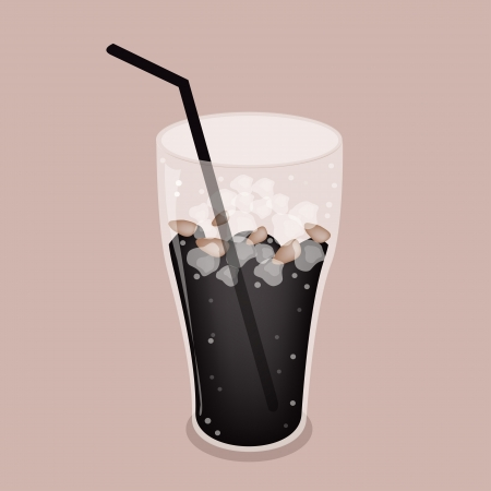 processed grains: Coffee Time, A Glass of Sweet and Black Iced Coffee on Beautiful Brown Retro Background