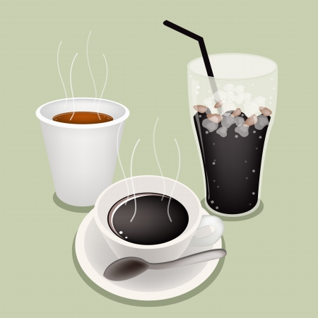 piccolo: A Cup of Black Coffee, Takeaway Coffee and Iced Coffee on Beautiful Green Retro Background