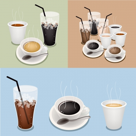 processed grains: A Cup of Black Coffee, Takeaway Coffee and Iced Coffee on Three Colors Retro Background Illustration