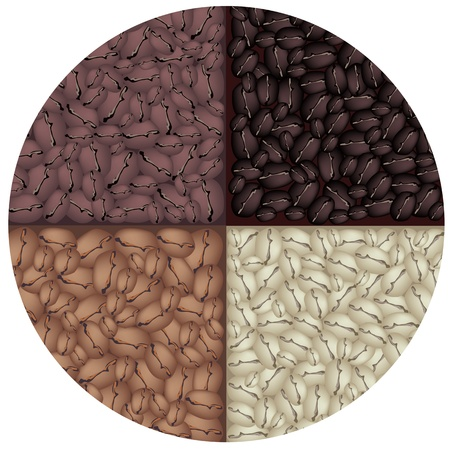 american cuisine: Coffee Time, An Illustration Four Colors of Beautiful Roasted Coffee Beans, Dark Brown, Brown, Light Brown and Green in Circle Shape