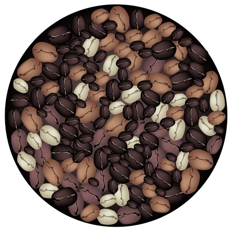 processed grains: Coffee Time, An Illustration of Round Shape Made From Various Colors of Roasted Coffee Beans