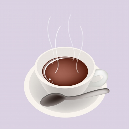 american cuisine: Coffee Time, A Cup of Hot Coffee Served as A Beverage Without Cream or Milk on Retro Purple Background Illustration