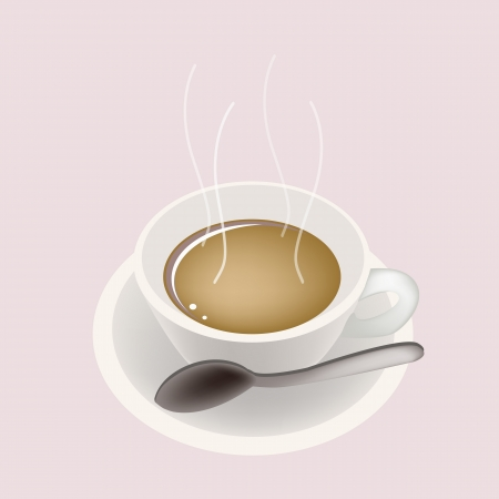 processed grains: Coffee Time, A Cup of Hot Coffee Served as A Beverage Without Cream or Milk on Retro Pink Background