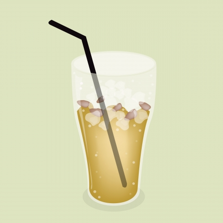 Soft Drink, A Glass of Lemon Iced Tea or Soda Drink on Beautiful Retro Green Background Vector
