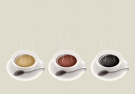 piccolo: Coffee Time, Different Types of Coffee in A Cup on Retro Light Brown Background with Copy Space for Text Decorated