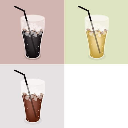 piccolo: Coffee Time, Iced Coffee, Iced Tea and Cola on Retro Light Brown Background with White Copy Space for Text Decorated
