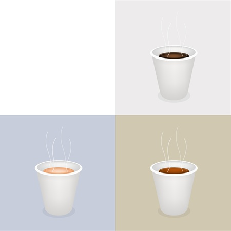 piccolo: Coffee Time, Different Types of Coffee in A Disposable Cup on Retro Light Brown Background with White Copy Space for Text Decorated