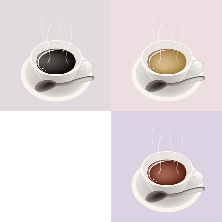 piccolo: Coffee Time, Different Types of Coffee in A Cup on Retro Light Brown Background with White Copy Space for Text Decorated  Illustration