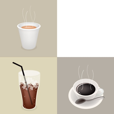 piccolo: Coffee Time, Different Types of Coffee in A Disposable Cup, Hot Coffee and Iced Coffee on Retro Light Brown Background with White Copy Space for Text Decorated  Illustration