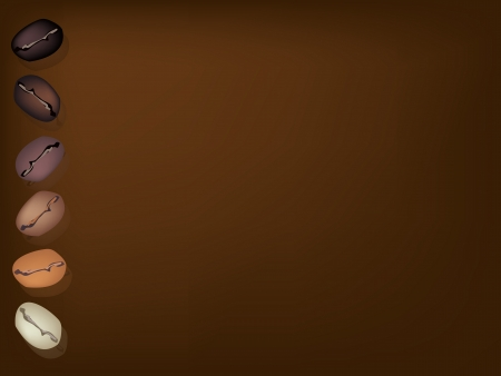 coffee crop: Coffee Time, An Illustration Various Colors of Roasted Coffee Beans in A Row on Dark Brown Background with Copy Space for Text Decorated