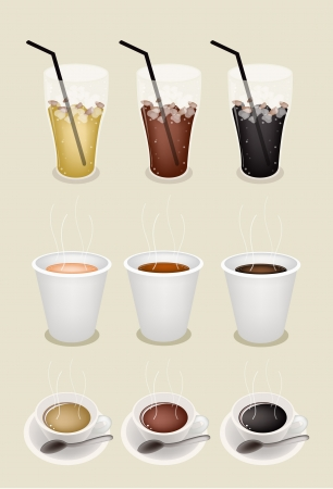 american cuisine: Iced Coffee, Hot Coffee and Takeaway Coffee on Retro Brown Background for Coffee Time