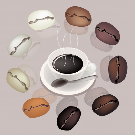 processed grains: Coffee Time, Various Colors of Roasted Coffee Beans Around A Cup of Hot Coffee Served as A Beverage Without Cream or Milk on Retro Purple Background